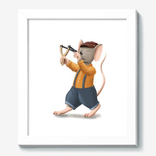 Картина «Мышонок с рогаткой»