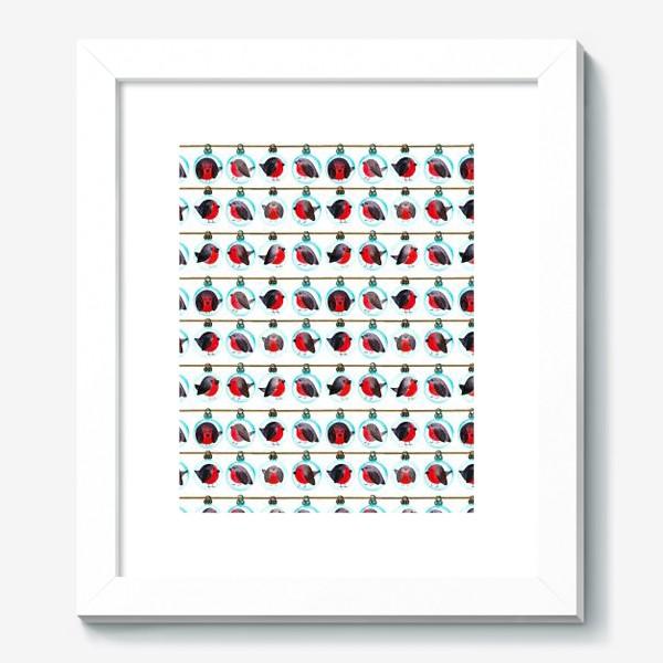 Картина «Паттерн новогодние шары со снегирями»