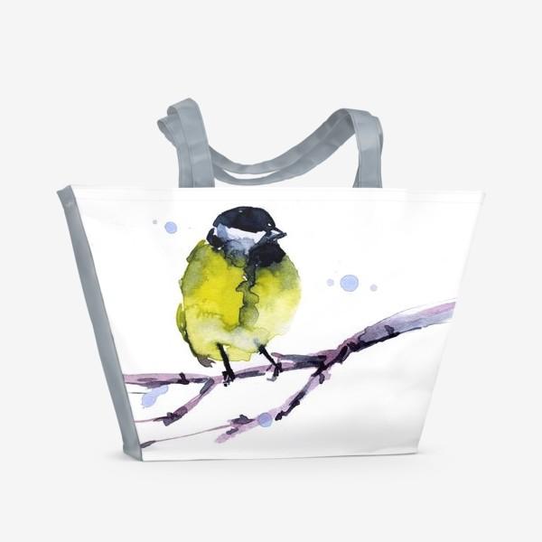 Пляжная сумка «Зима. Синичка.»