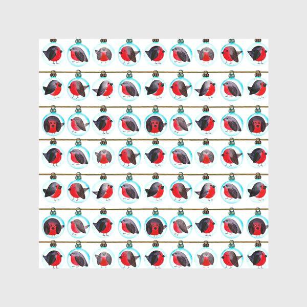 Скатерть «Паттерн новогодние шары со снегирями»