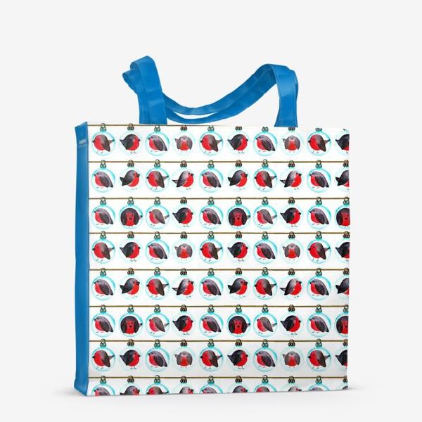 Сумка-шоппер «Паттерн новогодние шары со снегирями»