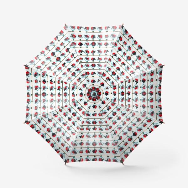 Зонт «Паттерн новогодние шары со снегирями»