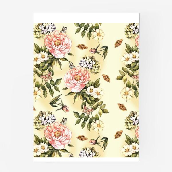 Постер «Нежный винтажный паттерн с цветами  и бабочками»