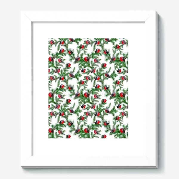 Картина «Паттерн снегири на еловых ветках»