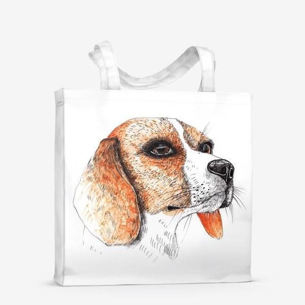 Сумка-шоппер «Собака Бигль Рисунок»