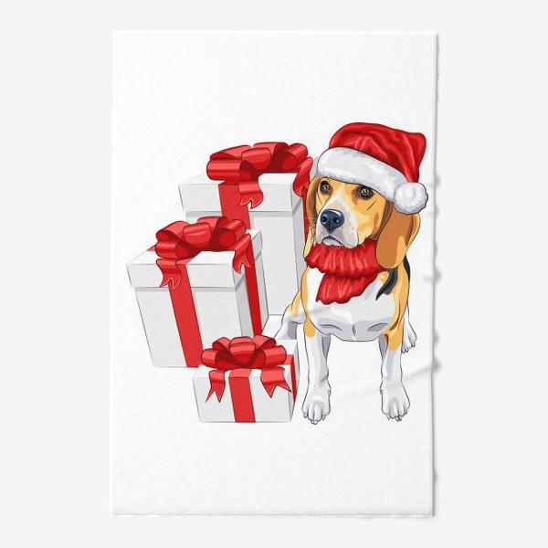 Полотенце «бигль с новогодними подарками»