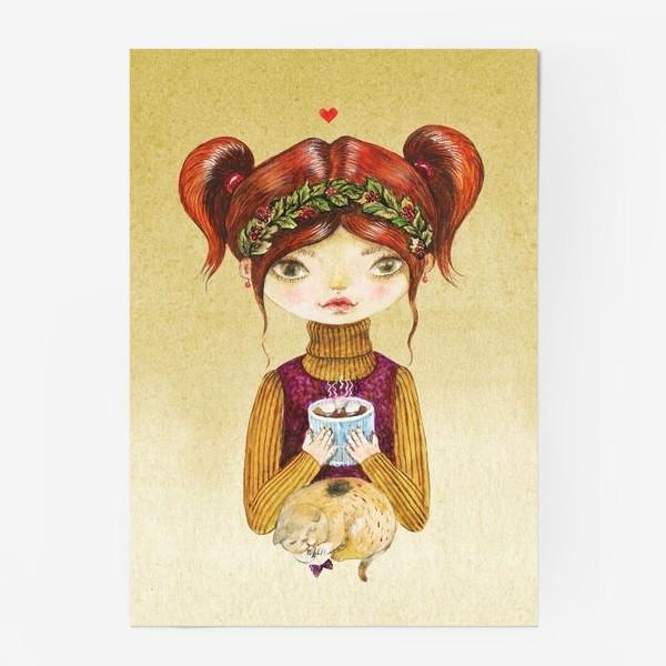 Постер «Кофе и котик»