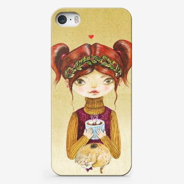 Чехол iPhone «Кофе и котик»
