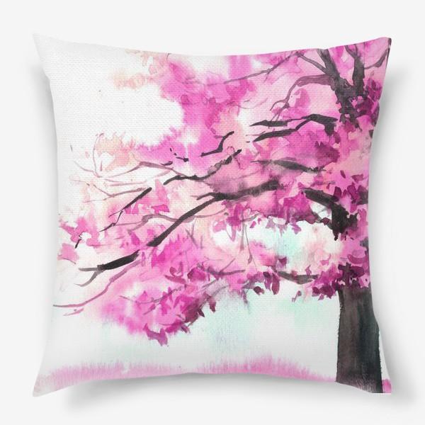 Подушка «Акварель Розовое дерево»