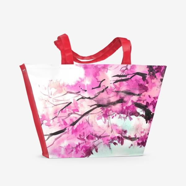 Пляжная сумка «Акварель Розовое дерево»