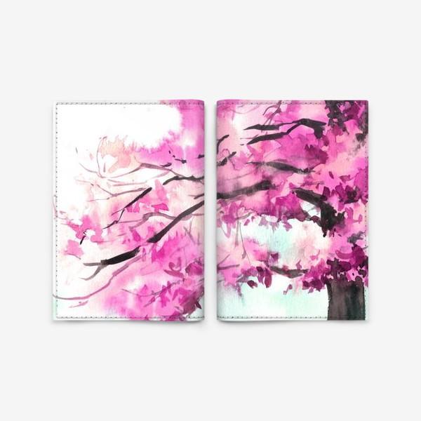 Обложка для паспорта «Акварель Розовое дерево»