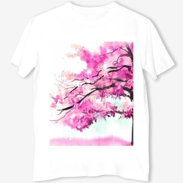 Футболка «Акварель Розовое дерево»