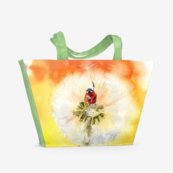Пляжная сумка «Акварель божья коровка и одуванчик»