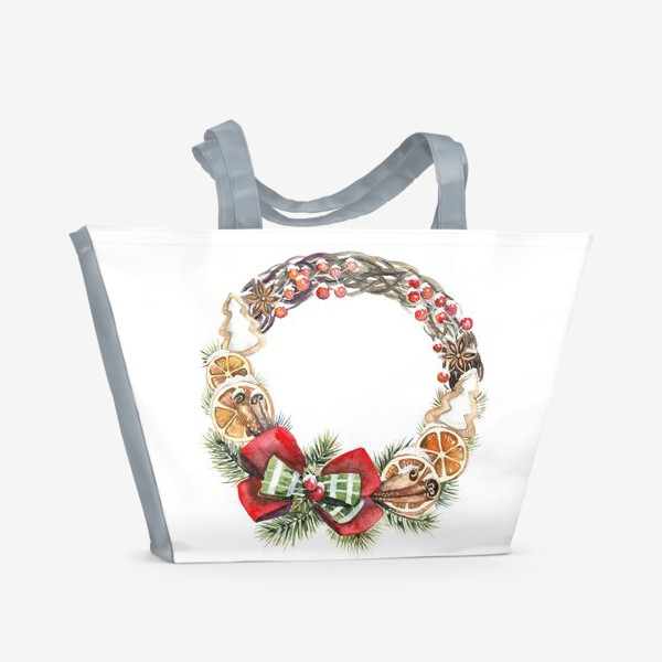 Пляжная сумка «рождественский венок»