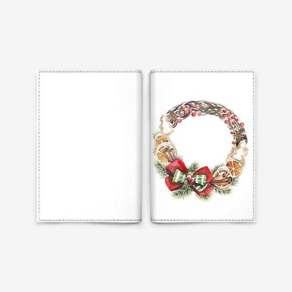 Обложка для паспорта «рождественский венок»