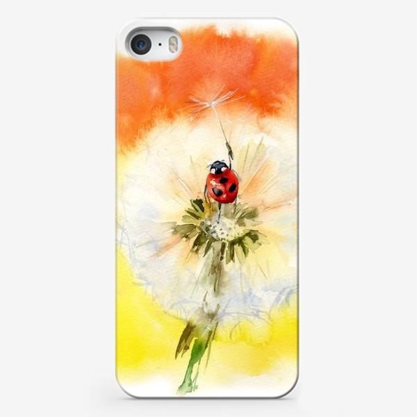 Чехол iPhone «Акварель божья коровка и одуванчик»