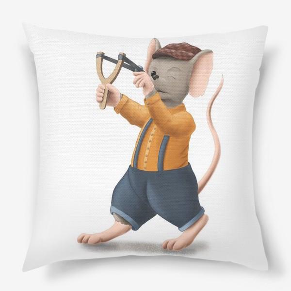 Подушка «Мышонок с рогаткой»