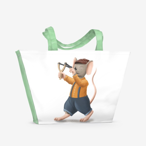Пляжная сумка «Мышонок с рогаткой»