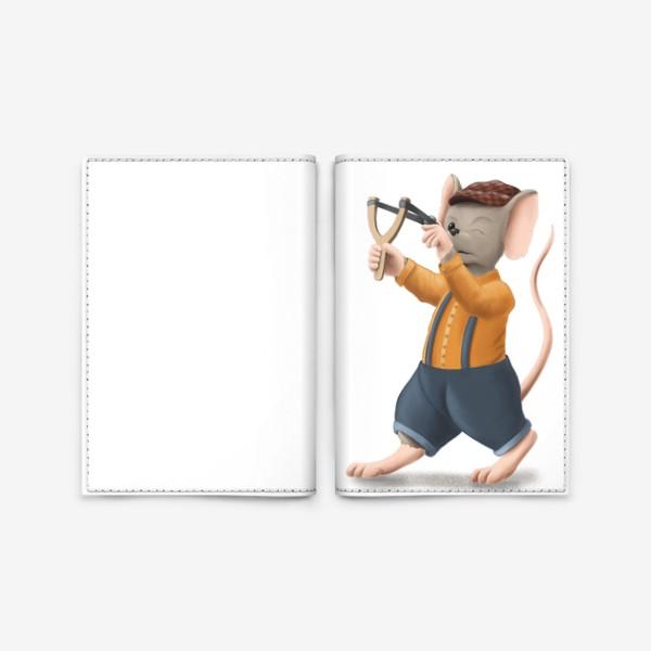 Обложка для паспорта «Мышонок с рогаткой»