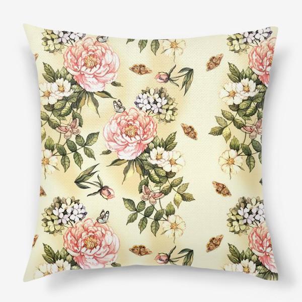Подушка «Нежный винтажный паттерн с цветами  и бабочками»