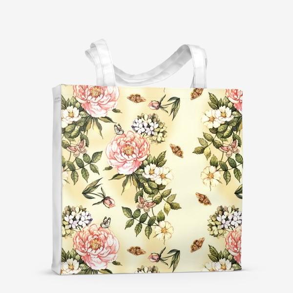 Сумка-шоппер «Нежный винтажный паттерн с цветами  и бабочками»