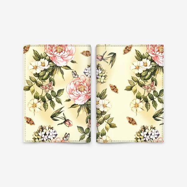 Обложка для паспорта «Нежный винтажный паттерн с цветами  и бабочками»
