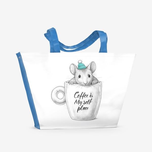 Пляжная сумка «Coffee is my self place»