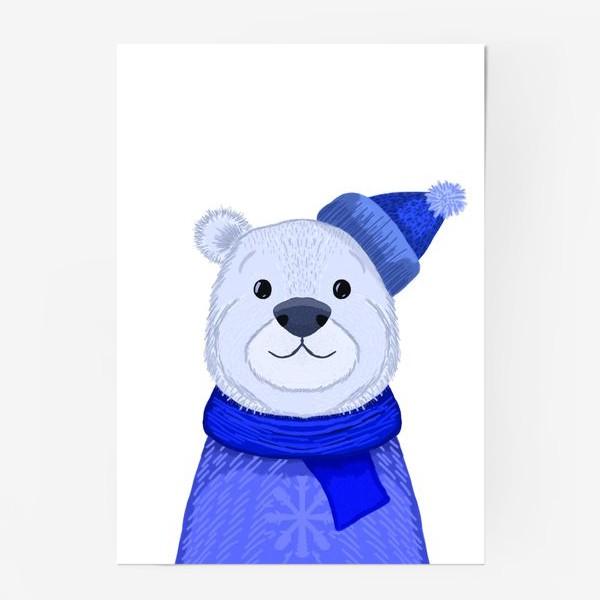 Постер «Медведь в шапке и свитере»