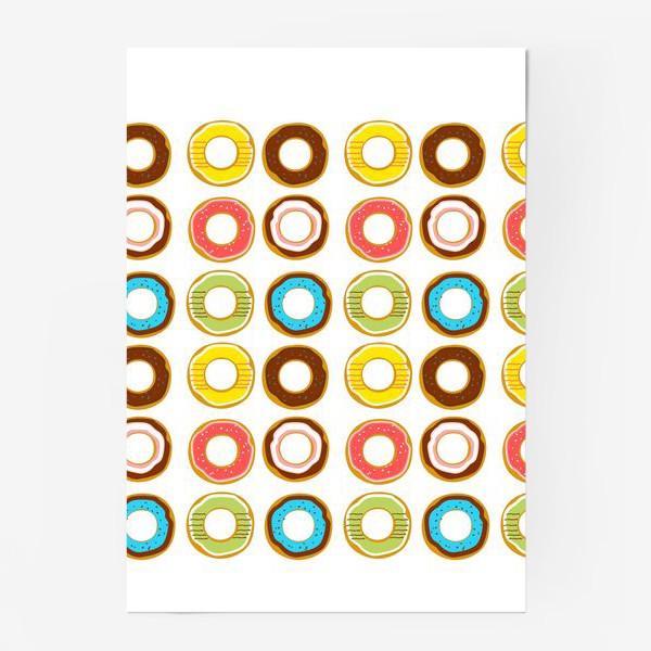 Постер «Пончики. Донатсы. Сладкий паттерн»