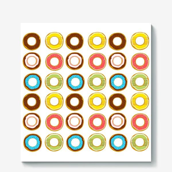 Холст «Пончики. Донатсы. Сладкий паттерн»