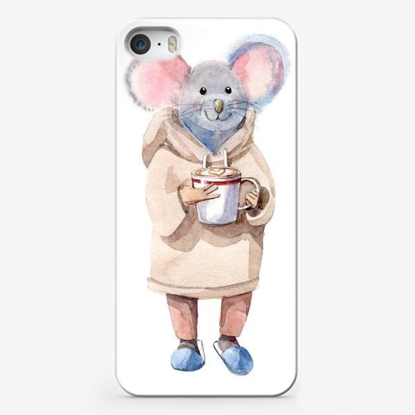 Чехол iPhone «МЫШЬ С КОФЕ»