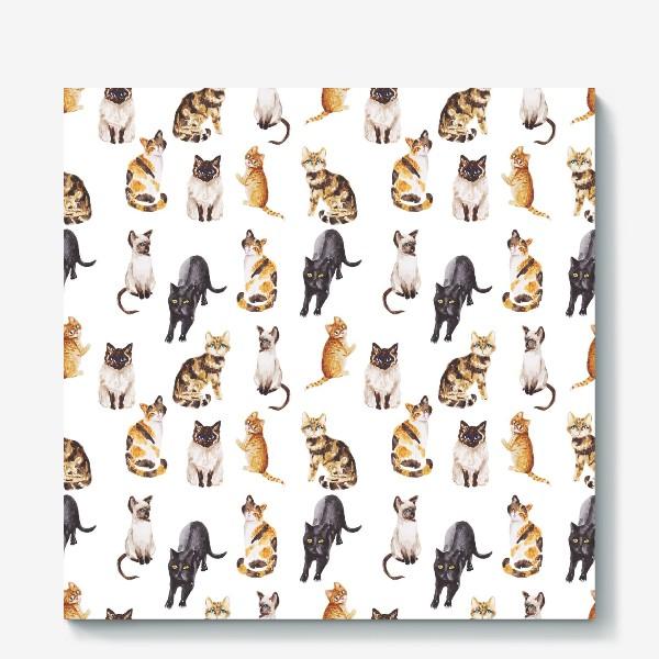 Холст «Акварельные котики»