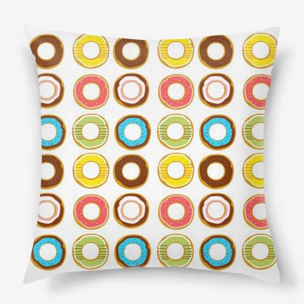 Подушка «Пончики. Донатсы. Сладкий паттерн»