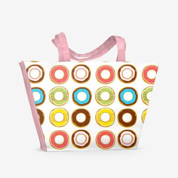 Пляжная сумка «Пончики. Донатсы. Сладкий паттерн»