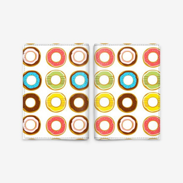 Обложка для паспорта «Пончики. Донатсы. Сладкий паттерн»