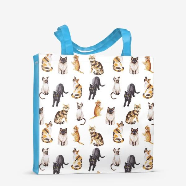 Сумка-шоппер «Акварельные котики»