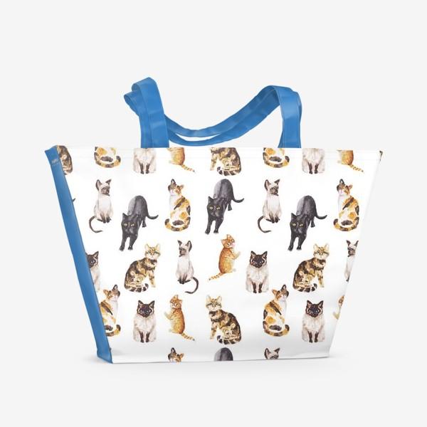 Пляжная сумка «Акварельные котики»