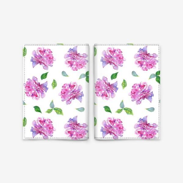 Обложка для паспорта «Акварельные нежные фиолетоавые цветы Пионы и листья на белом фоне»