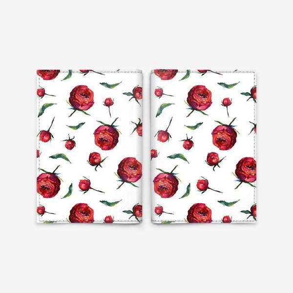 Обложка для паспорта «Акварельные нежные красные розы и листья на белом фоне»