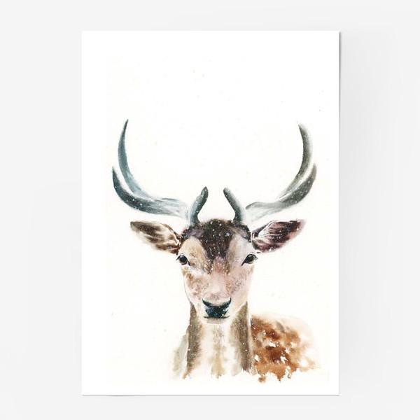 Постер «Олень, акварель»