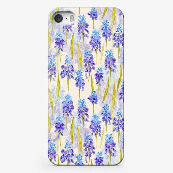 Чехол iPhone «Мускари. Акварельный паттерн»