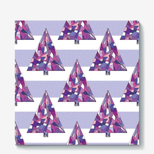 Холст «Елки геометрические сиреневые»