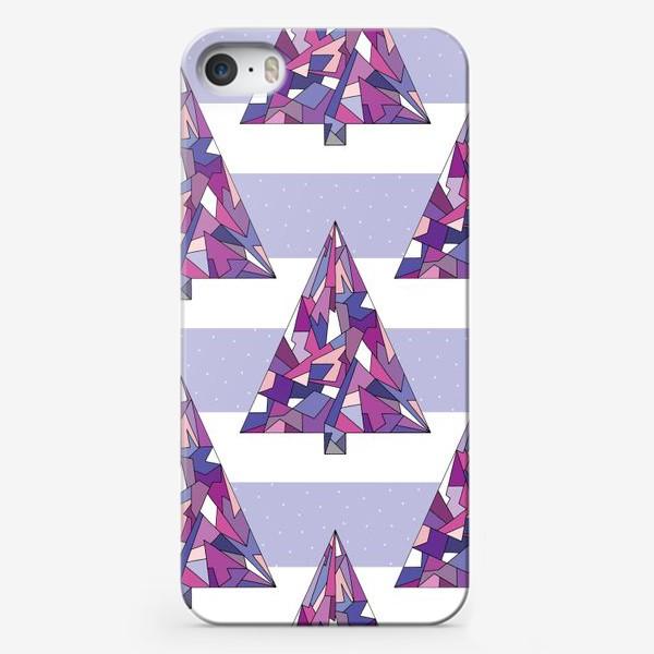 Чехол iPhone «Елки геометрические сиреневые»