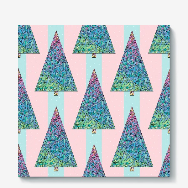 Холст «Елки кристаллы геометрические»