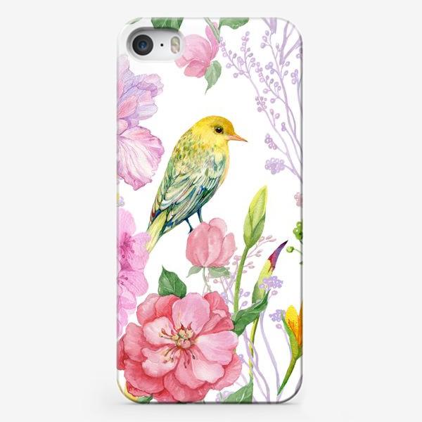 Чехол iPhone «акварель. цветы и птичка иволга»
