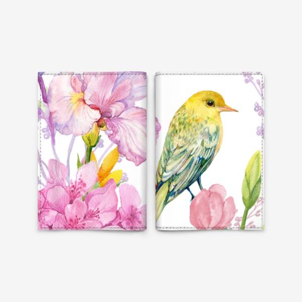 Обложка для паспорта «акварель. цветы и птичка иволга»