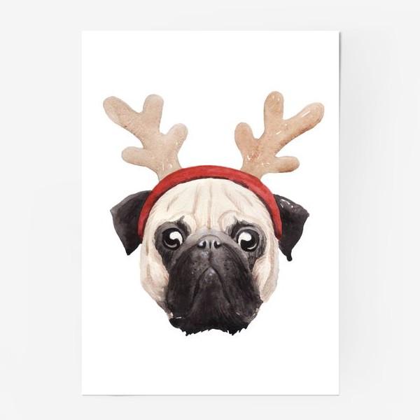 Постер «Мопс, олень, мопс-олень, Новый год»