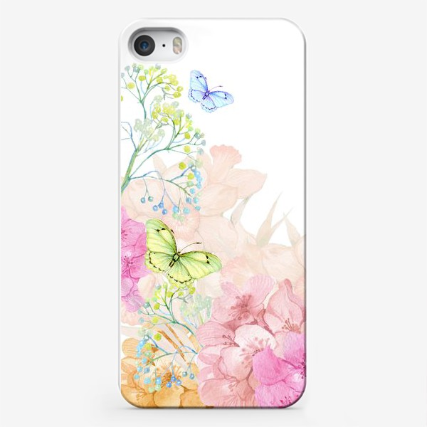 Чехол iPhone «цветы и бабочки»