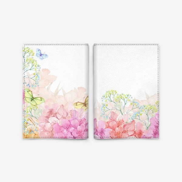 Обложка для паспорта «цветы и бабочки»