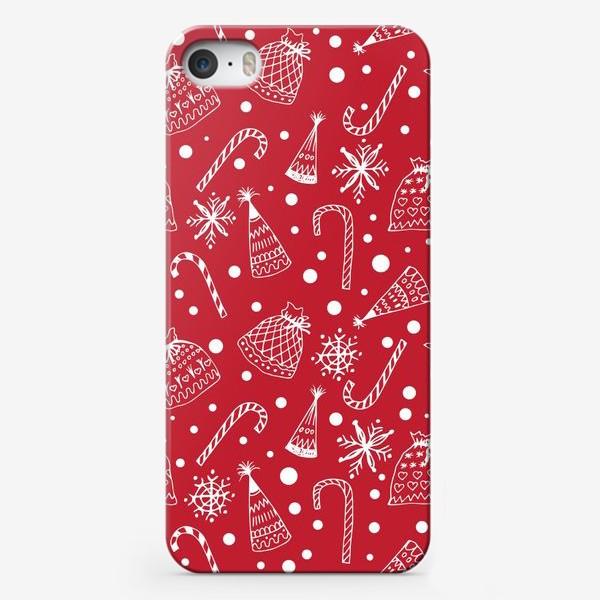 Чехол iPhone «Зимный снежный узор со снежинками и яркими новогодними подарками»